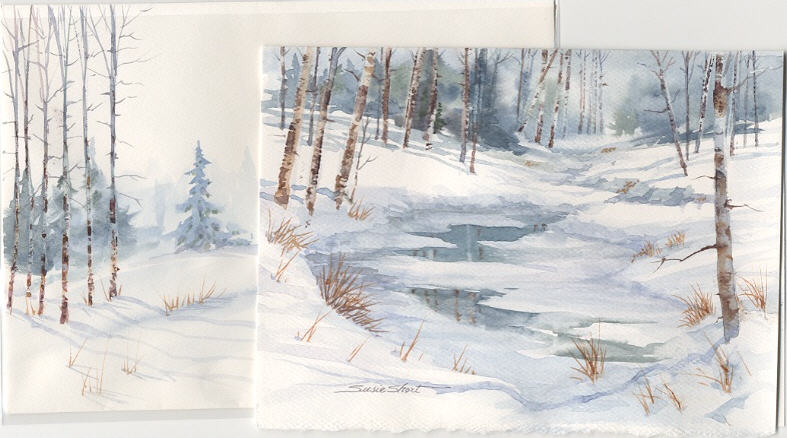 Watercolor christmas card ideas design you own Christmas card scenes to paint
