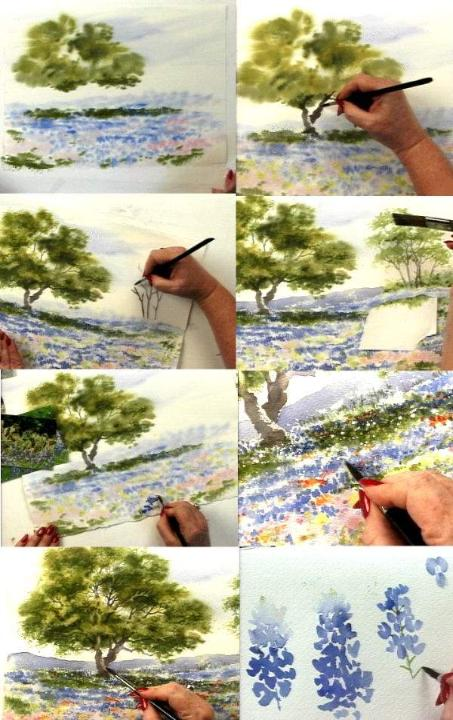 Painting bluebonnets and Live oaks in watercolor video examples