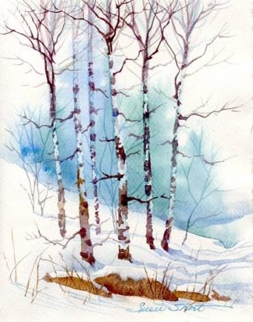 Susie short 39 s watercolor christmas card ideas greeting cards Christmas card scenes to paint
